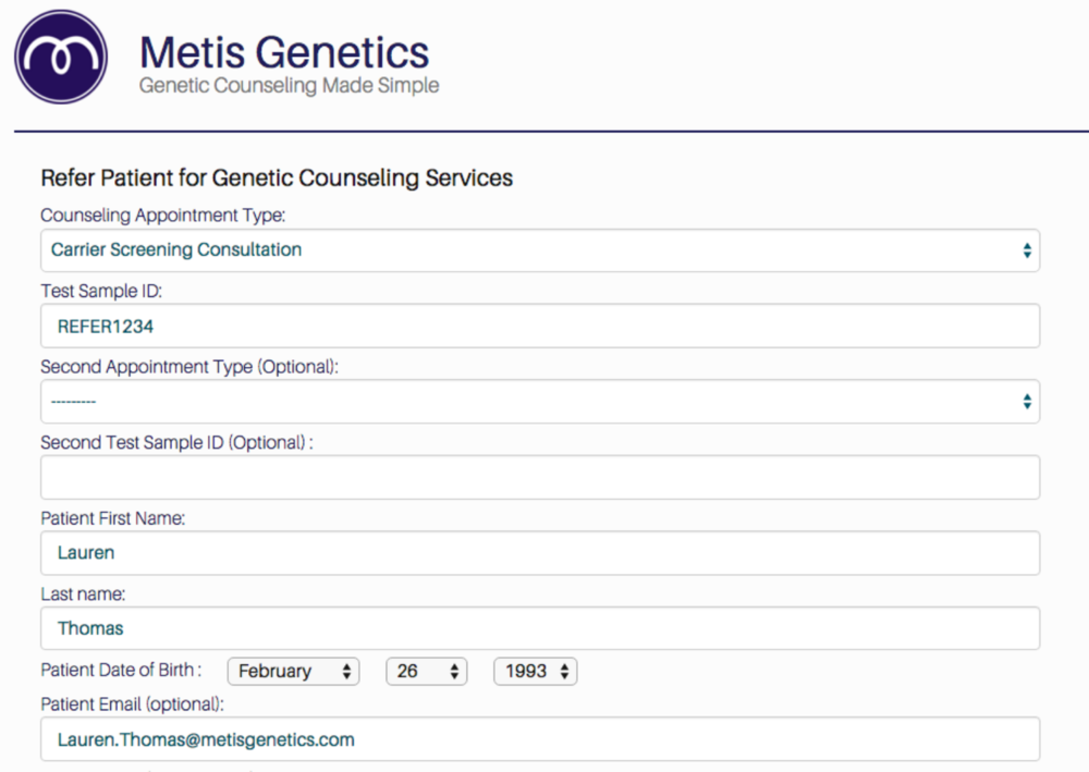Patient Referral page on the Metis Portal