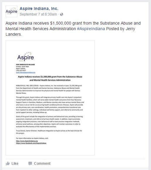 Aspire Indiana Facebook Page