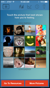 "Examples of a ""feelings gauge"" on the myStrength app."