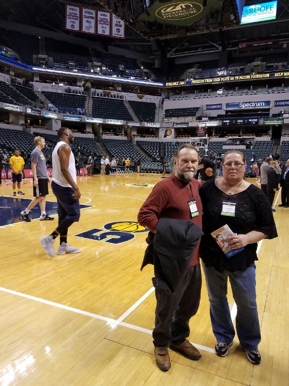 """The Pacer game that I was able to go to was very nice, The Pacer staff Tim Streets was a great joy to get to meet, he showed us around the behind the scenes of the Pacers and how things work during the games, and introduced us to some of the staff. Thank you for the great experience."" -- Mary McKinney, who took her husband Tedd as her guest."