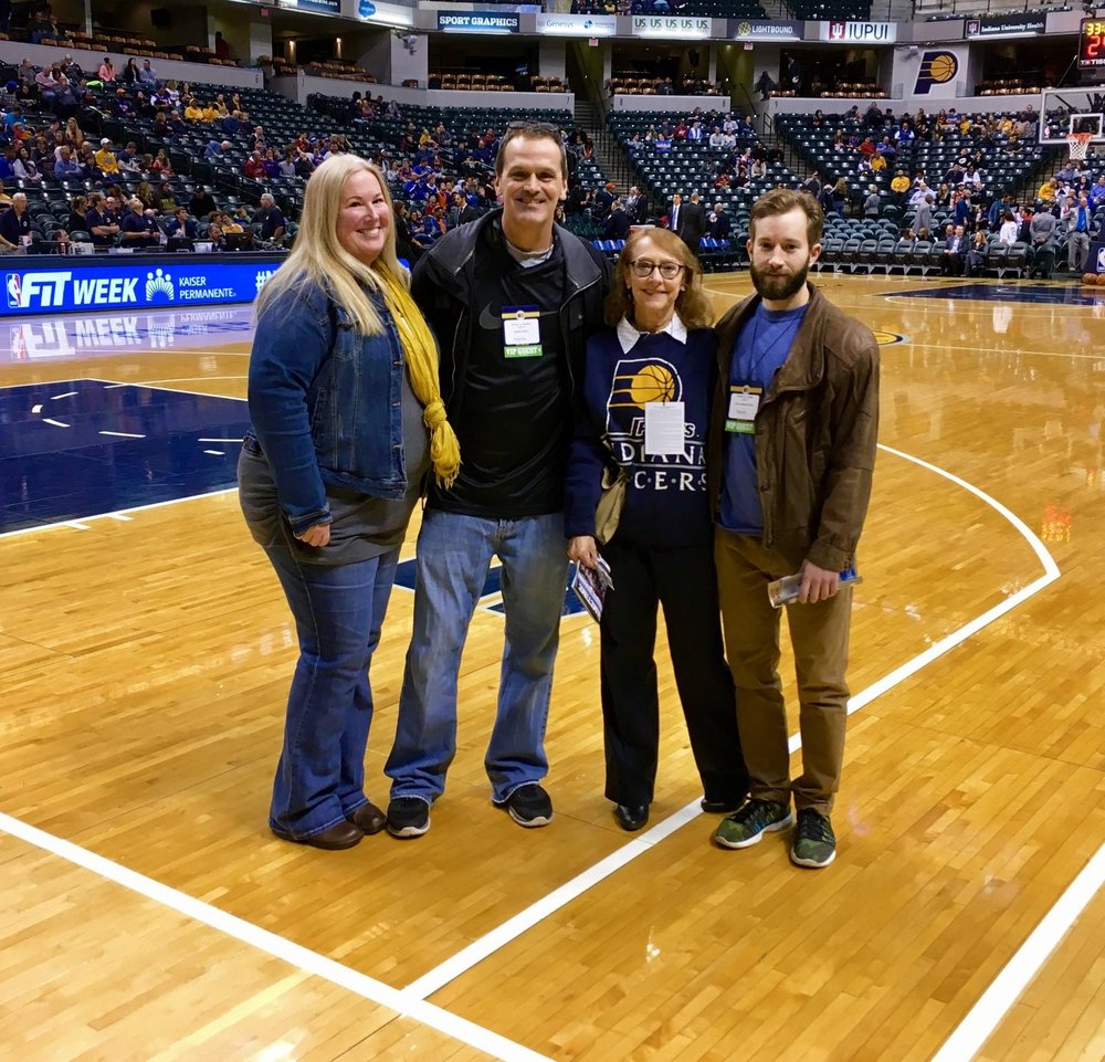 We had a fabulous time at the Pacer game! I went with my son,Leo, who has been a Pacer fan since age 3 when we would get the $6 seats in the top rows of Market Square Arena!  We have so many memories of Pacer games over the years and this is a great one to add to the list! Leo said the game was fun and exciting but he especially liked the tour where we were able to observe what goes into the television production of an NBA game!   And Reggie Miller was in the house for the TNT broadcast!! The Pacers could have used a few more BOOM BABIES!!  Thank you so much for a wonderful evening with family and Aspire friends (Julie and Darin Foltz-so fun)!