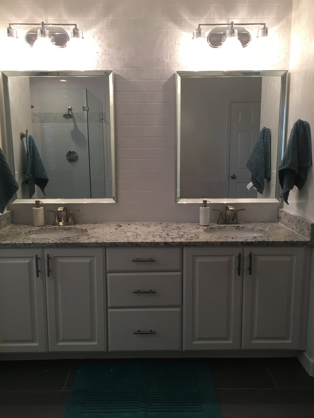 And Here Is What It Looks Like Now! For The Shower Walls, We Chose White  Subway Tile And Accented It With A Band Of Carrara Marble In A Mosaic  Hexagon ...