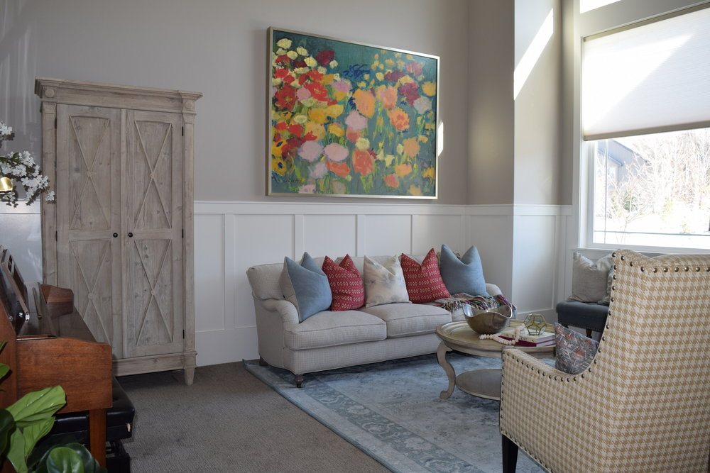 The Great Room Included A Grand Fireplace And Built In Shelving. We Kept The  Large Shelves, Coffee Table, And Sofa Table Simple Using Florals, Greenery,  ...