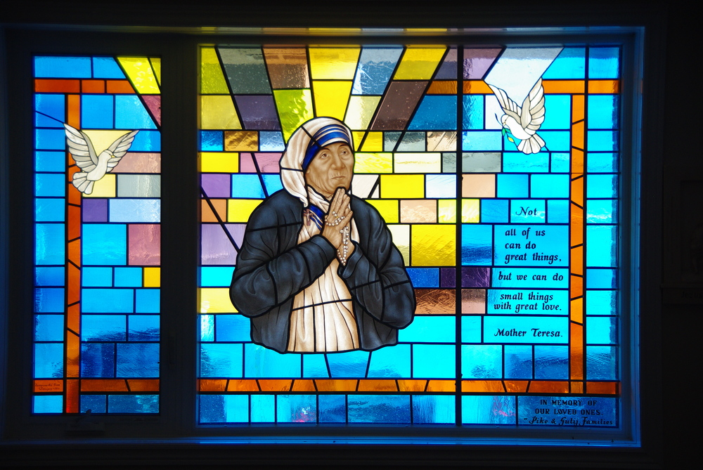 Mother Theresa Stained Glass Window