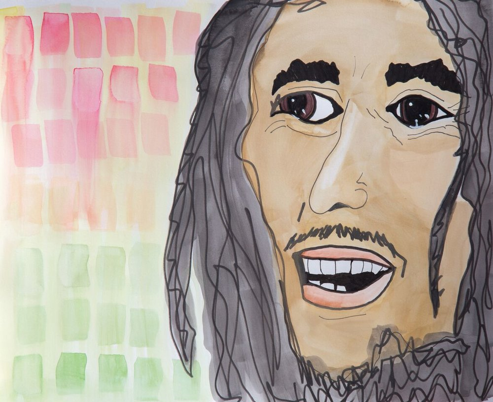 Bob Marley in Watercolor and India Ink