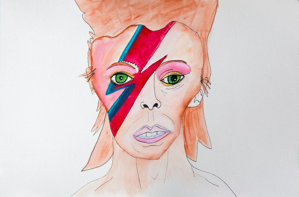 David Bowie in pen, watercolor crayon and marker