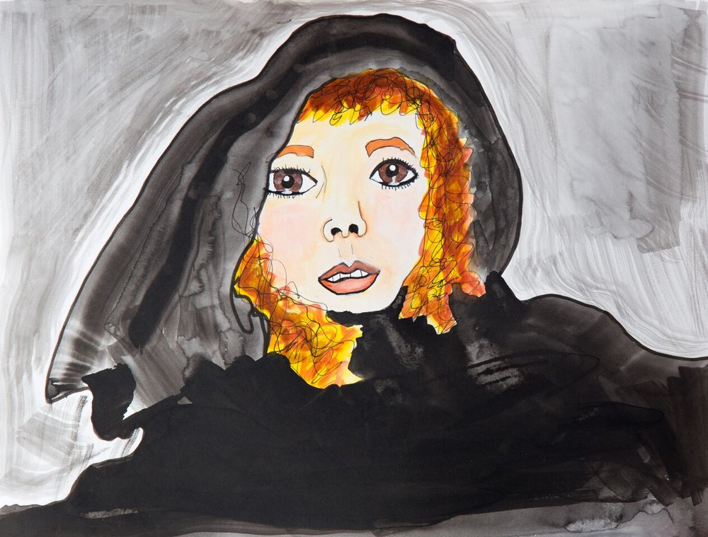 Stevie Nicks in pen, acrylic ink and marker
