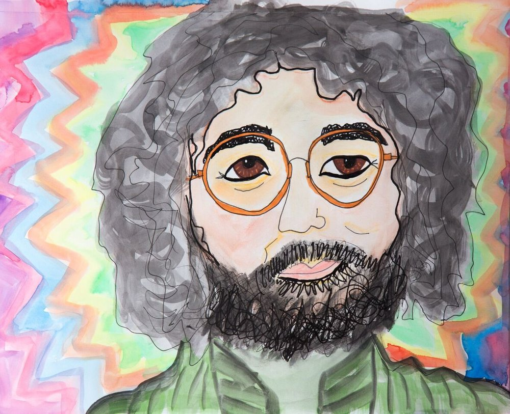 Jerry Garcia with watercolors, watercolor crayons, India Ink
