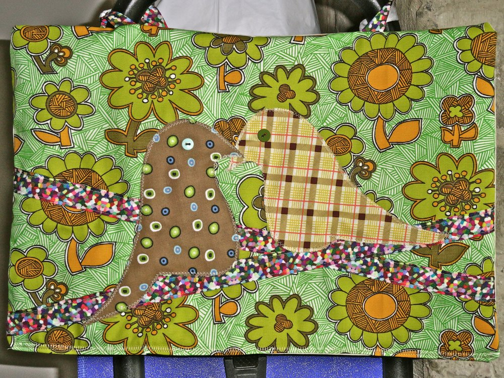 Lovebirds created with Vintage fabric