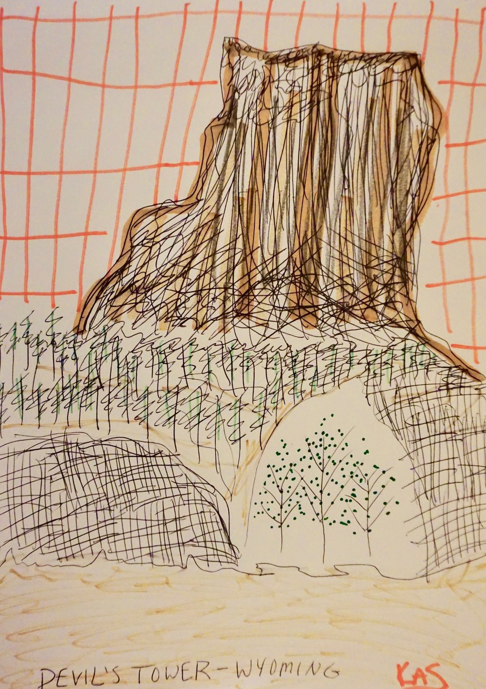 Devil's Tower Expressive Drawing by Kathryn Sturges