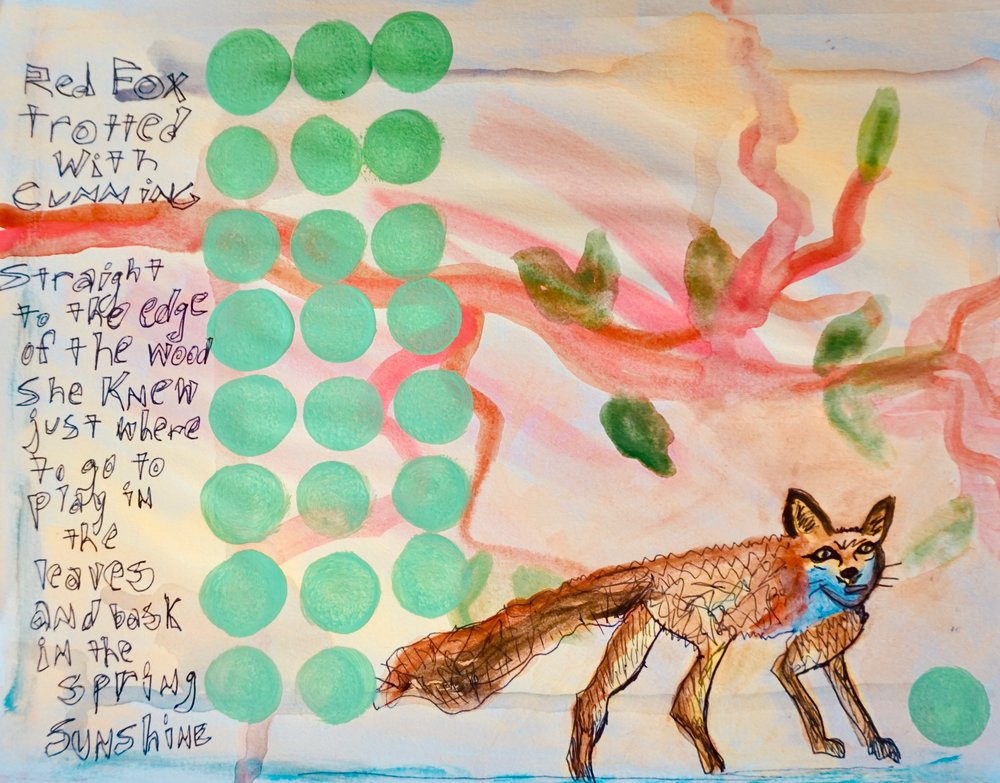 Red Fox Journal Page by Kathryn Sturges
