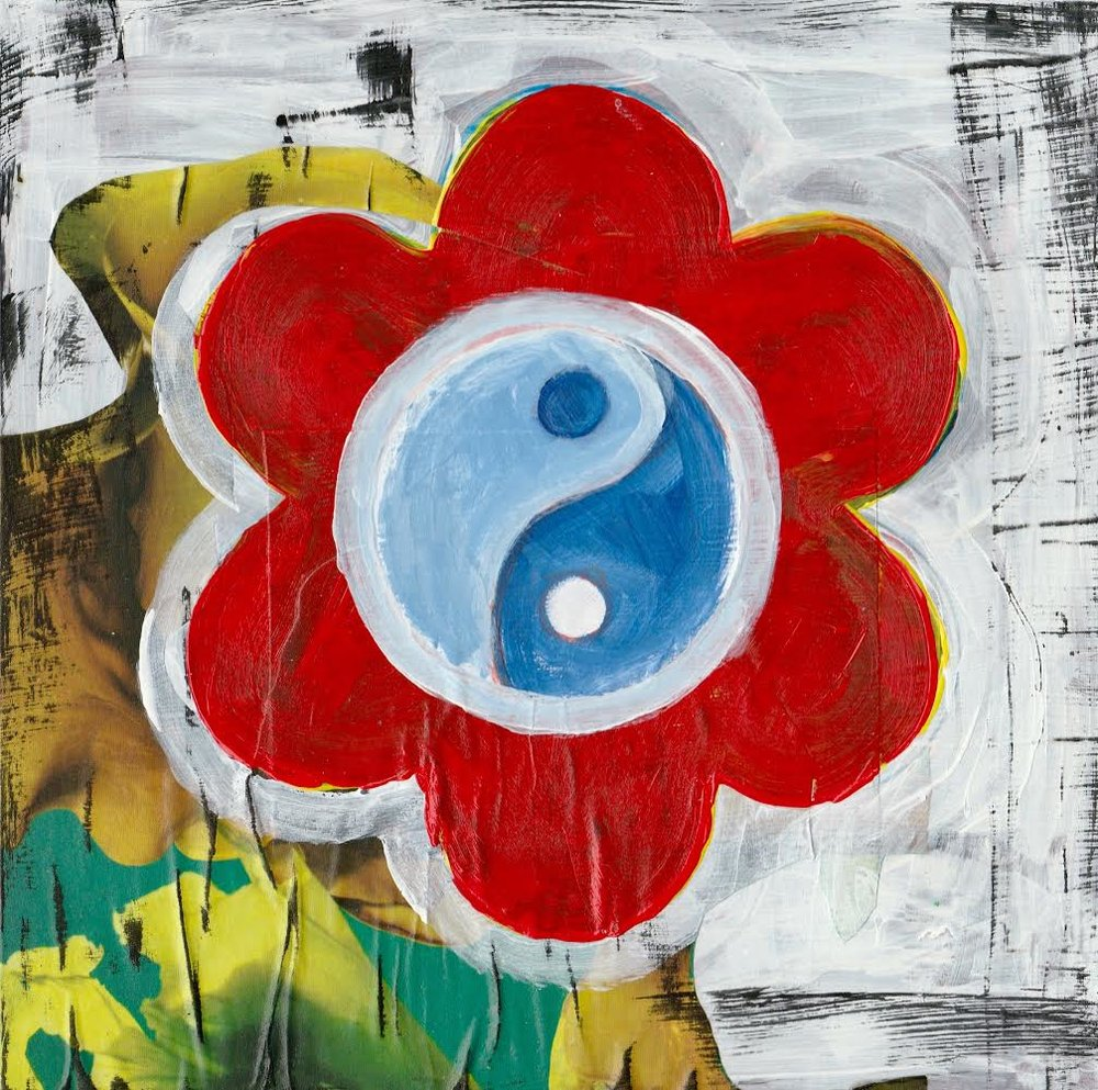 Yin Yang by Kathryn Sturges, mixed media on Ampersand Art Board