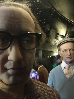 Creepy Woody Allen with wing-man Bing Crosby, at a museum to remain nameless