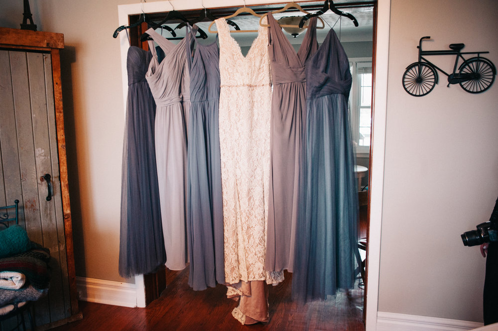Bridesmaids' dresses from Sash and Bustle