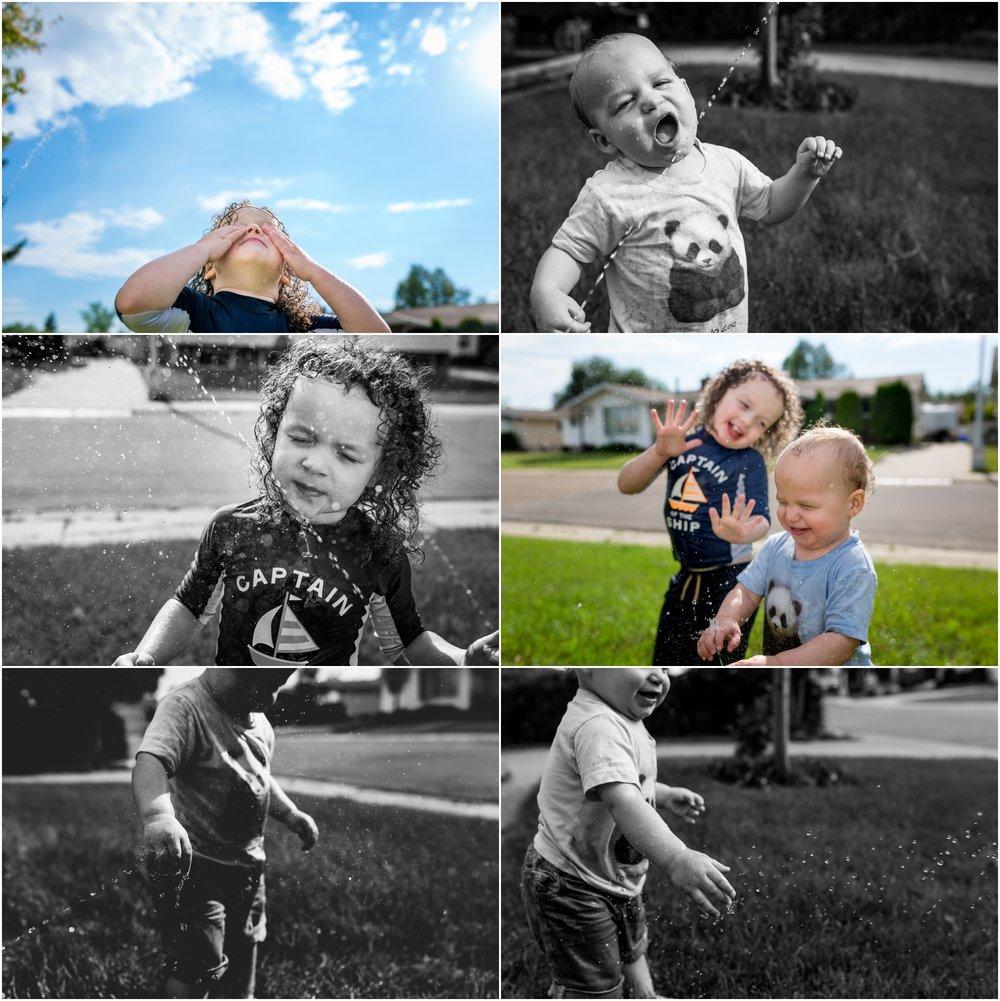 Edmonton Family Lifestyle Photographer - YEG Summer - Sprinkler water play