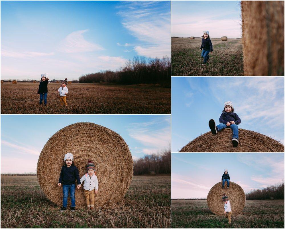 Edmonton Lifestyle Photographer - Children - Best of 2016 - November - Hay Bales - Adventure  - YEG