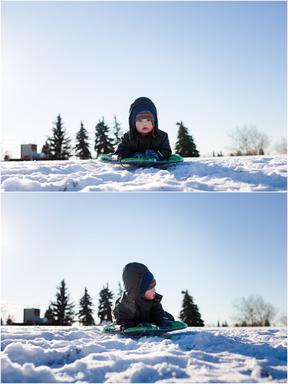 Edmonton lifestyle photographer - Best of 2016 - Sledding - Toboganning - Head first - no fear - toddler - winter - YEG - snowsuit