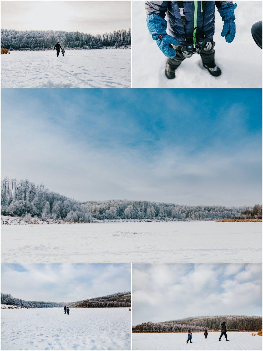 Frozen Winter Alberta Lake - Edmonton Photographer - Kids on a frozen lake.jpg