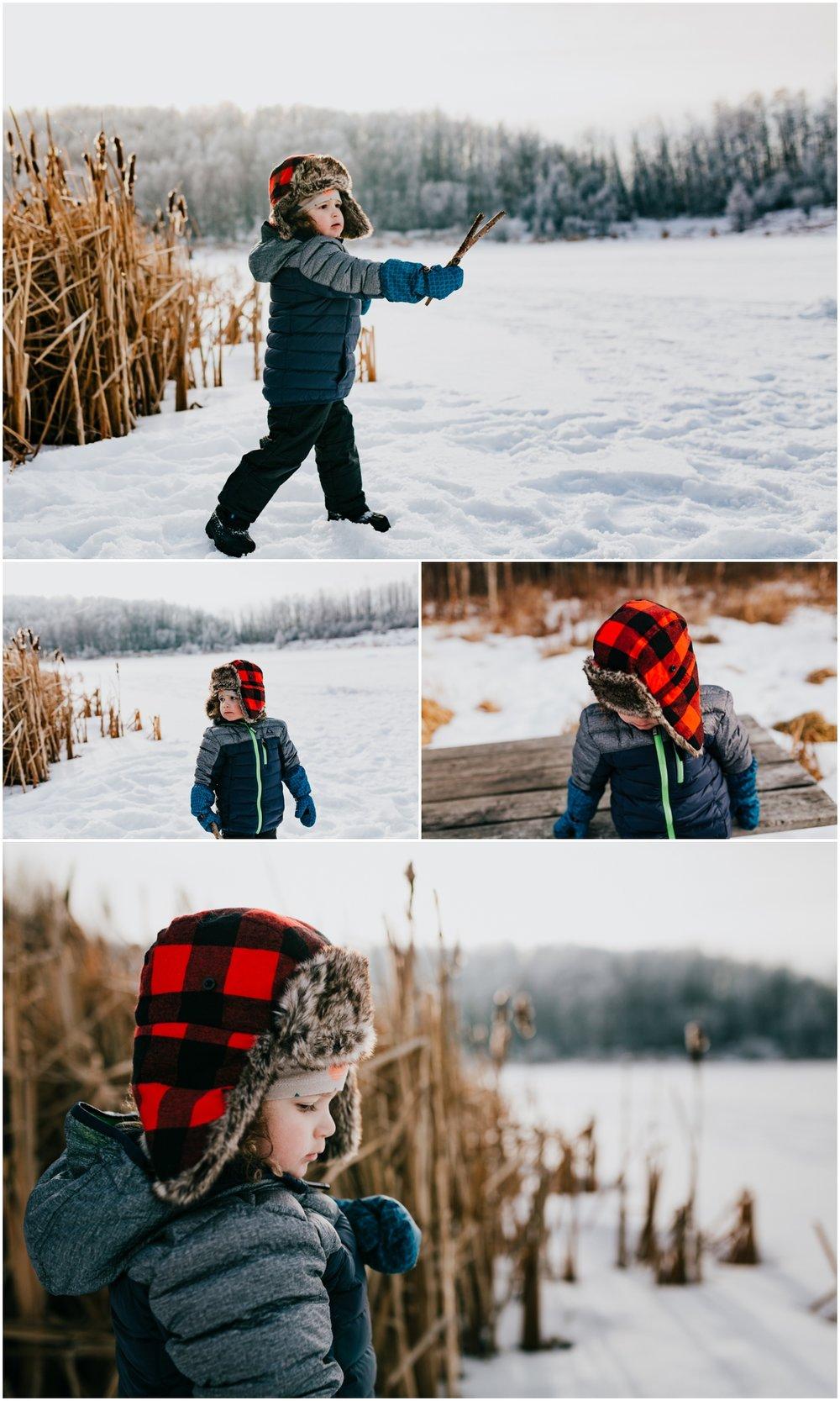 Edmonton Photographer - Cattails - Winter Lifestyle Photo Session - Kids on a frozen lake
