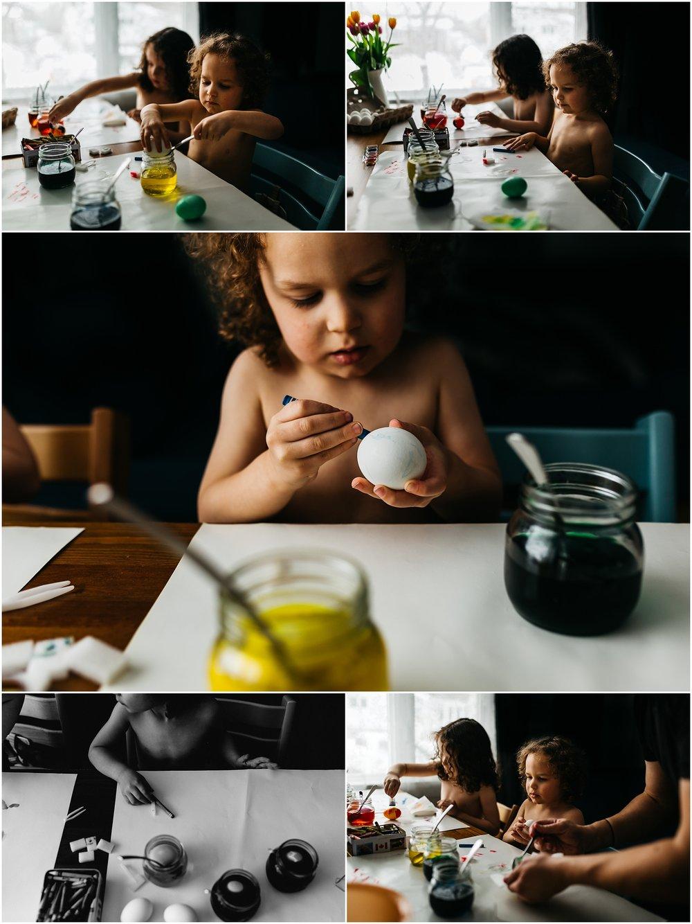 Easter Egg Painting - Edmonton Photographer - Edmonton Family Photographer -  Easter Eggs - Easter 2018 - Crayons on Easter Eggs - Edmonton Documentary Photographer - Family Photography - Documentary Photography