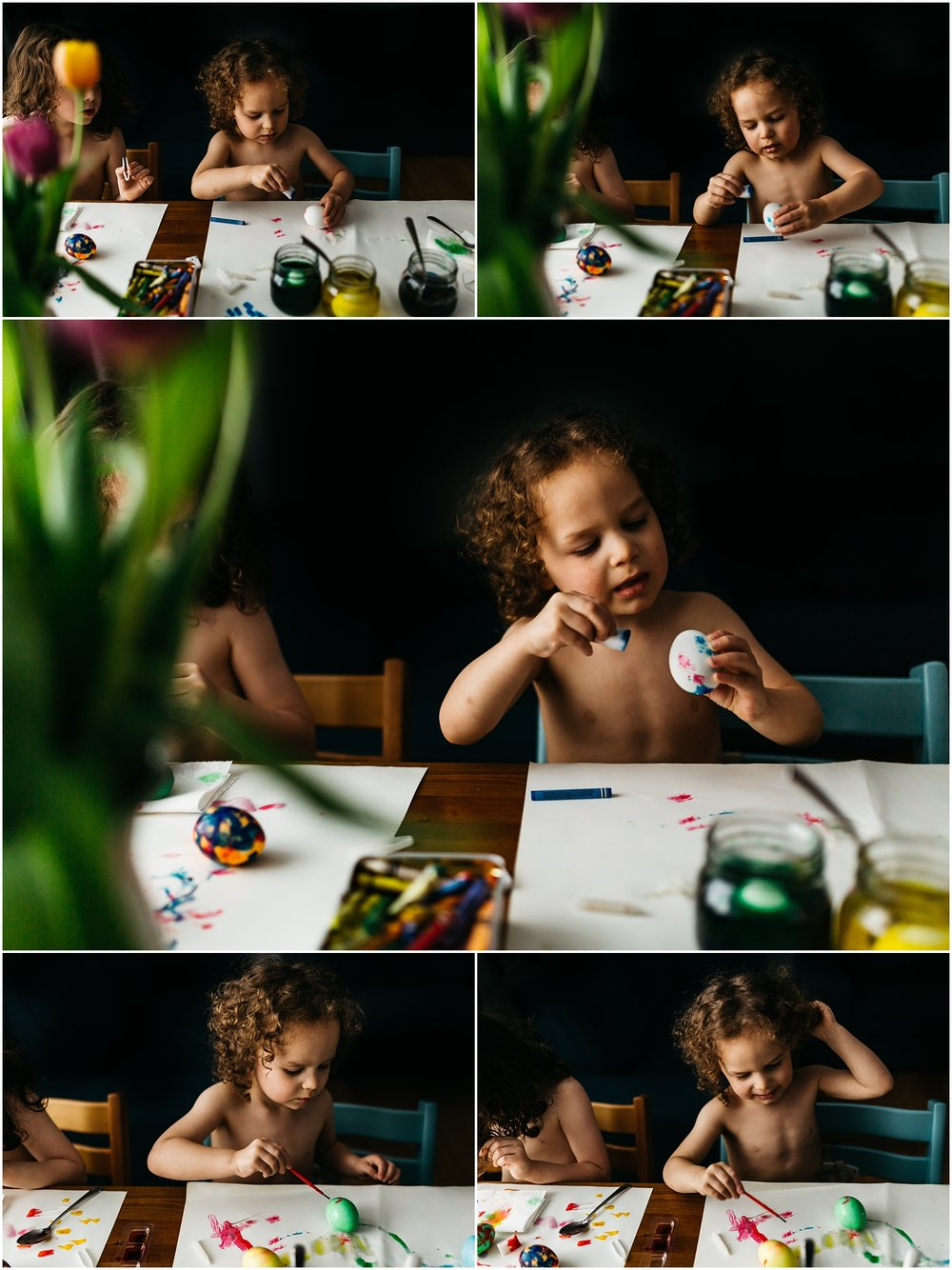 Easter Egg Painting - Edmonton Photographer - Edmonton Family Photographer -  Easter Eggs - Easter 2018 - Crayons on Easter Eggs - Edmonton Documentary Photographer - Family Photography - Documentary Photography - Tulips - Stokke Tripp Trapp - Tulips - Spring Flowers - Paas Easter Kits