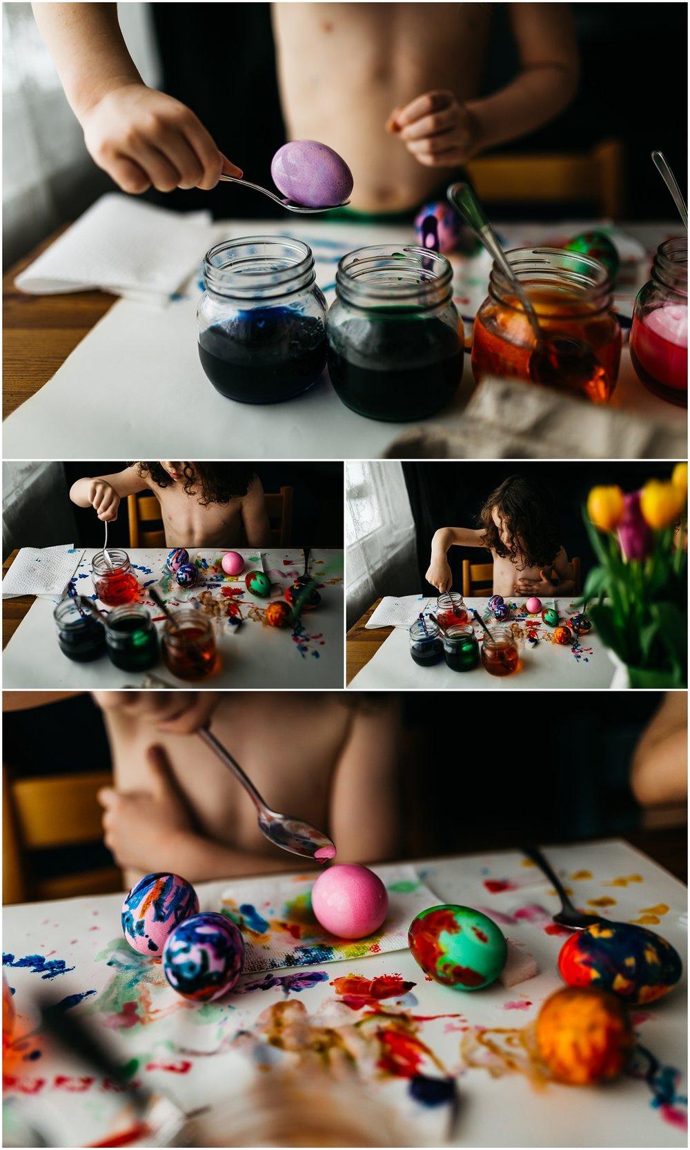 Easter Egg Painting - Edmonton Photographer - Edmonton Family Photographer -  Easter Eggs - Easter 2018 - Crayons on Easter Eggs - Edmonton Documentary Photographer - Family Photography - Documentary Photography - Tulips - Purple Eggs - Pass Easter Kits