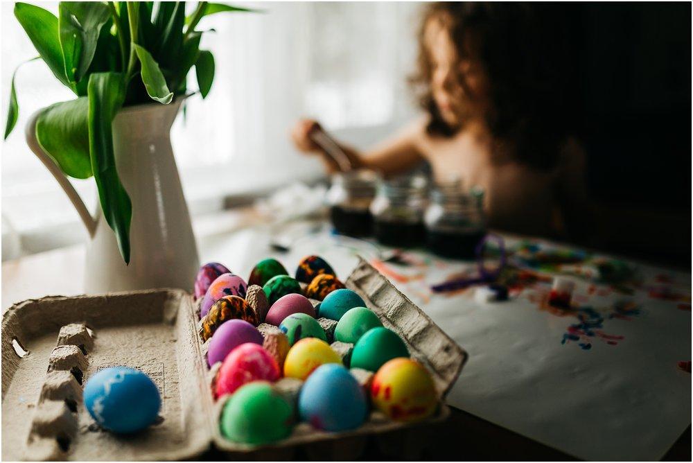 Easter Egg Painting - Edmonton Photographer - Edmonton Family Photographer -  Easter Eggs - Easter 2018 - Crayons on Easter Eggs - Edmonton Documentary Photographer - Family Photography - Documentary Photography - Tulips - Rainbow eggs, easter egg making - egg carton - food colouring eggs - food color eggs