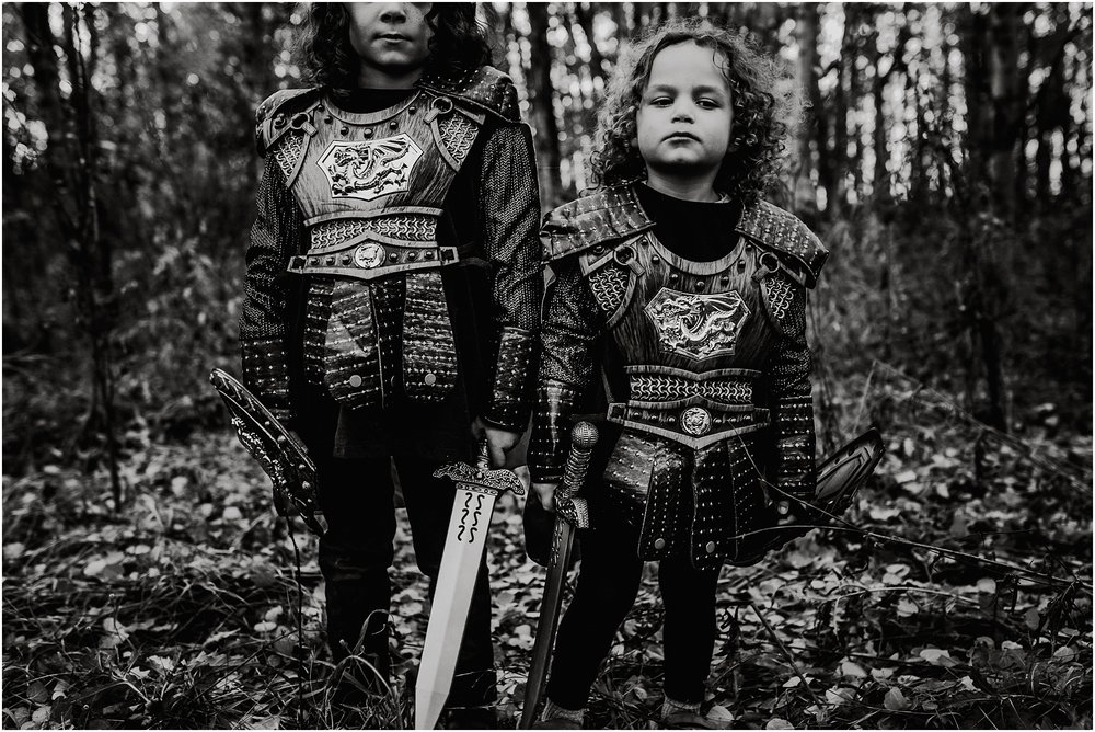 Knight Halloween Costumes - Treelines Photography - Edmonton Family Photographer