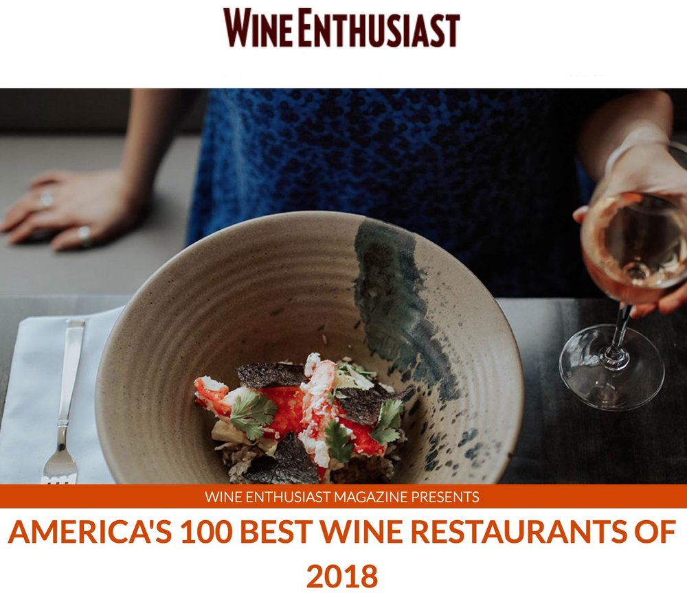 Voted Top 100 Wine Restaurant by Wine Enhusiast Magazine -