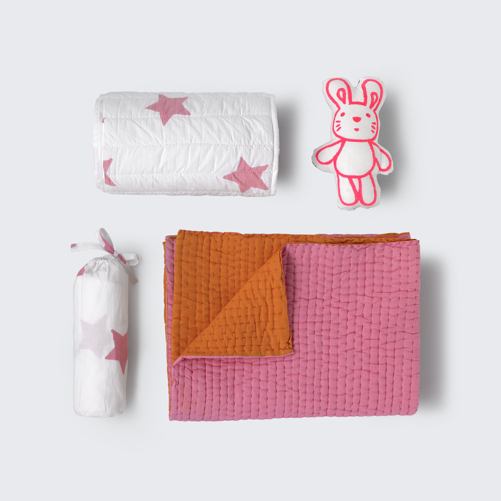 Pink star nursery set plus bunny