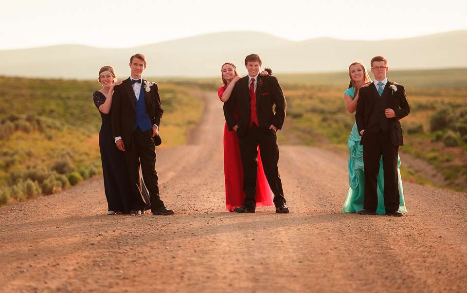 3 couples dressed up on road