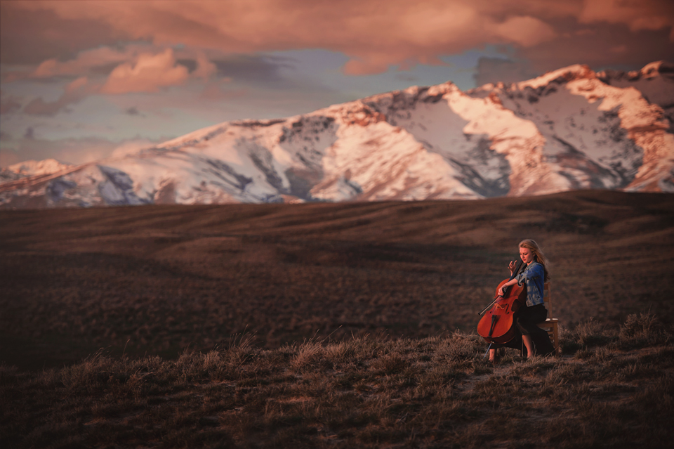 girl with cello sunset