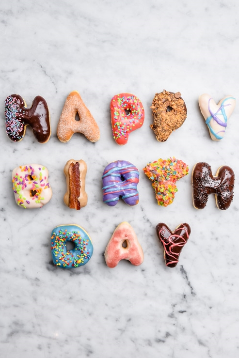 happy birthday donuts food