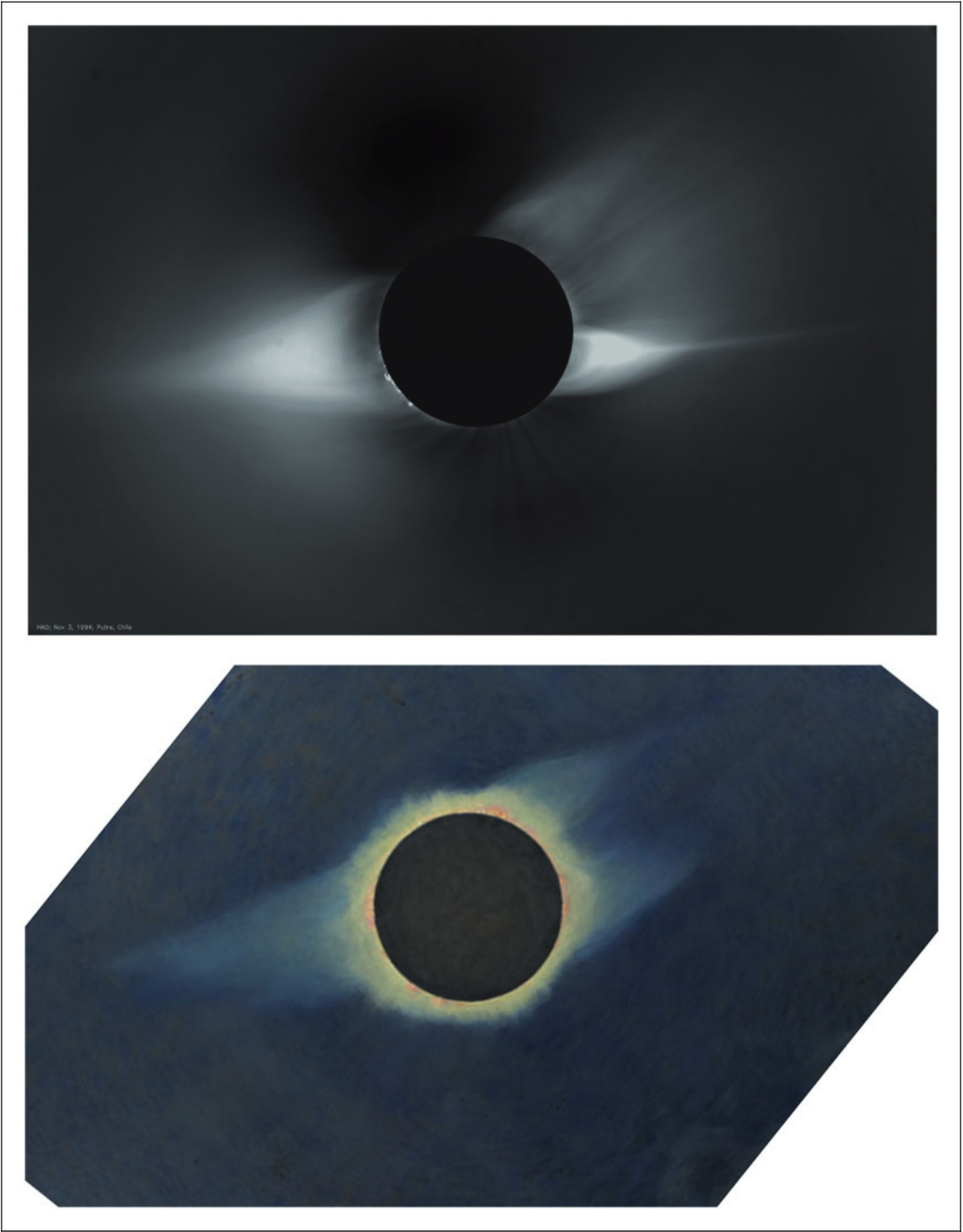 The photo above was taken of the 1994 eclipse, courtesy of the High Altitude Observatory (HAO), University Corporation for Atmospheric Research (UCAR), Boulder, Colorado sponsored by the National Science Foundation, and Howard Russell Butler's painting is of the 1932 eclipse, kindly provided by the Princeton University Art Museum.
