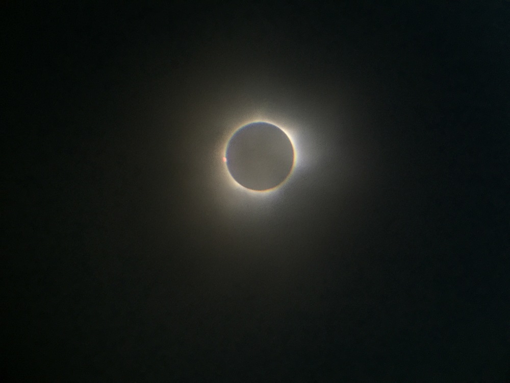 """iPhone 6 Plus with x20 supplemental telephoto lens and SkyWatcher """"StarAdventurer"""" tracking mount."""