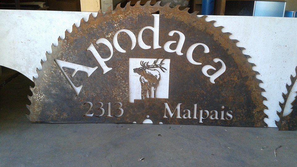 Custom Water Jet Cut Steel Sign Hand Painted Saltey Dogg Metal Fabrication.jpg
