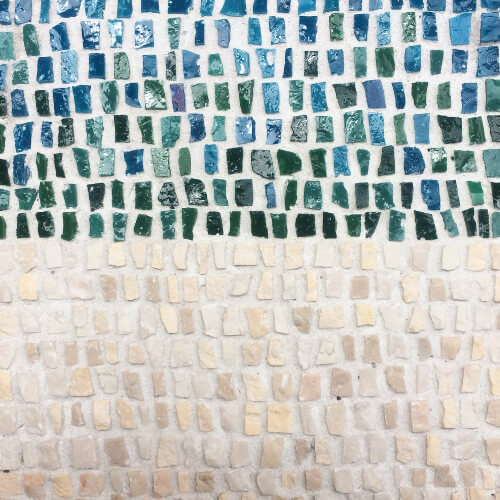 Blue-green mosaic - smalti glass and stone
