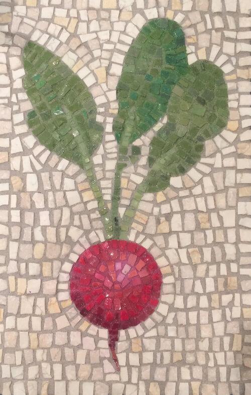 Radish mosaic - smalti glass and stone