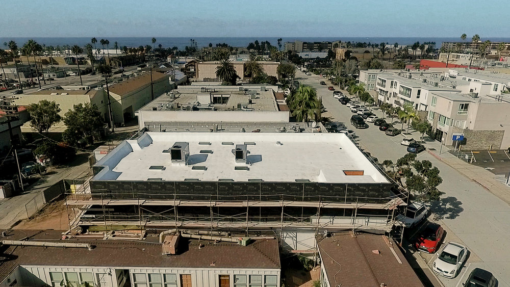 Birds eye view of the newly finished roof structure of the Hornblend Office Space