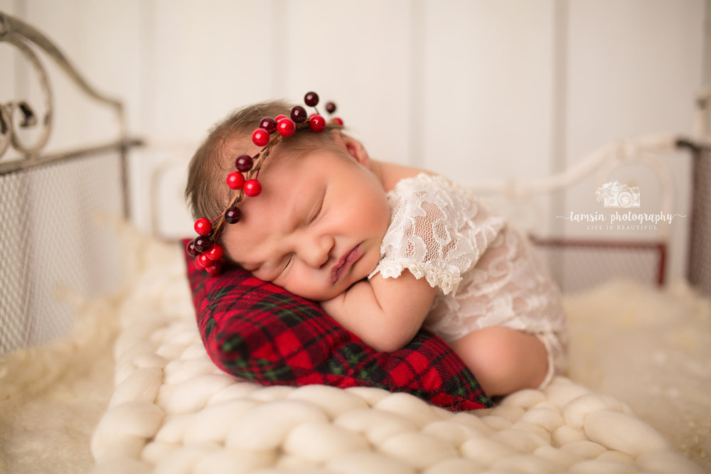 Newborn Christmas Portraits Pillow Bed Tamsin Photography.jpg