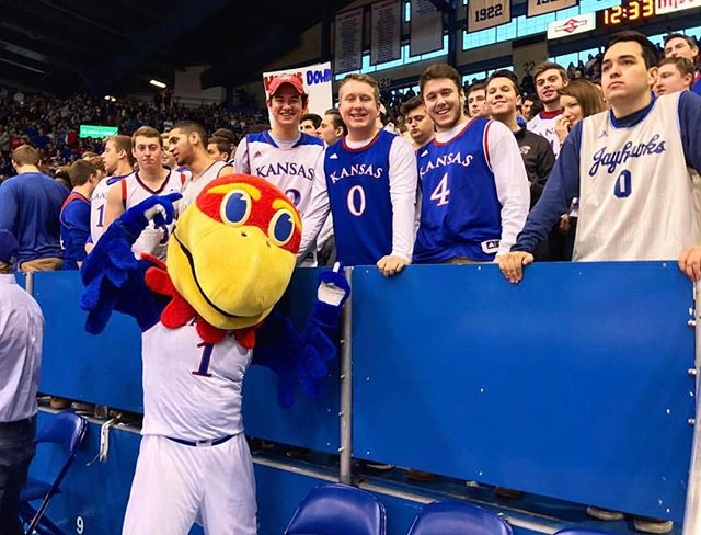 A group of our guys sat front row at the KU vs. Texas game today. Rock Chalk and Phi Alpha!