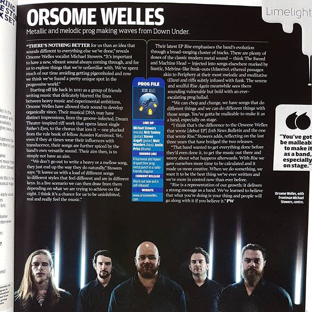 This is an article from @progmagazine all about our Rise EP released in 2017.  It's amazing to glean what other people hear in our music when it comes to influence.  @karnivool_official @dreamtheaterofficial @machine_head @theswordofficial @haken_official @melvinsdotcom  What a rad list to be compared to!  We can't wait to record our new material so people can have their say on where our style is heading and what new influences may be apparent.  Thanks to @adriangoleby for the photo 📸 and @philweller_ for the words 📝
