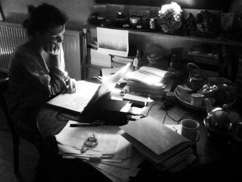 ...in the midst of writing my third book, My Heart Wanders, on my houseboat in Amsterdam, The Netherlands, 2010.