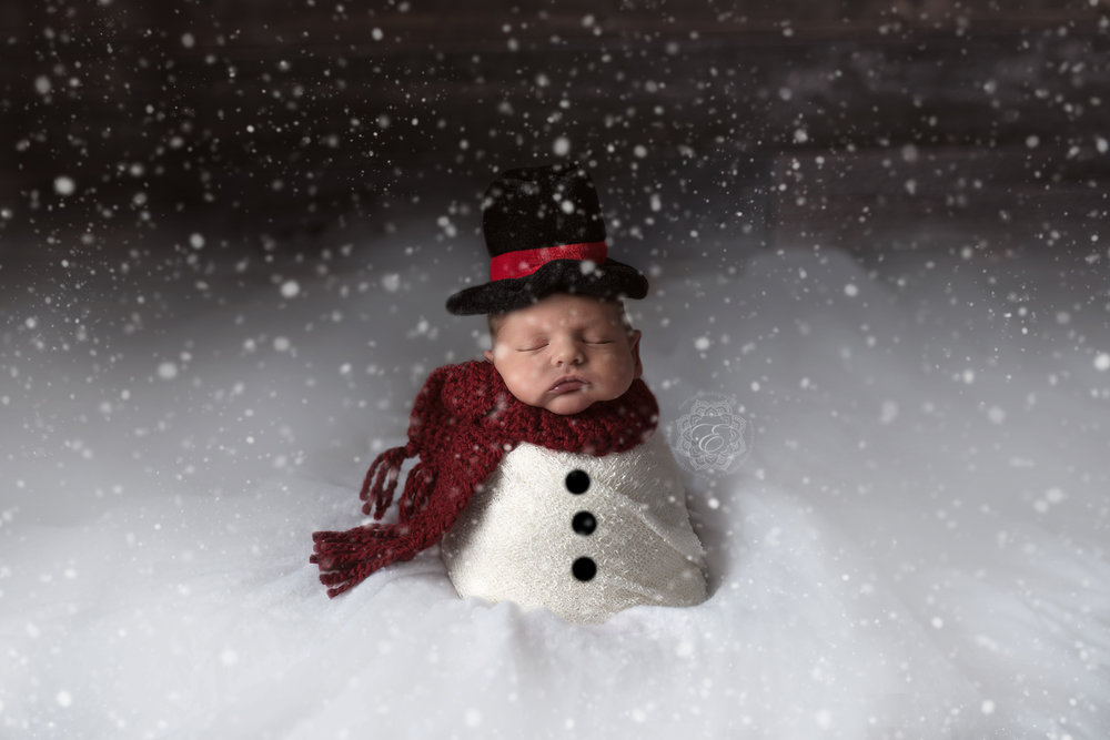 Snow falling on baby snowman