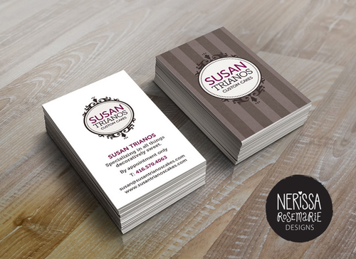 Nerissa rosemarie designs these business cards were created for susan trianos an amazing baker and highly talented cake decorating genius susantrianoscakes reheart Images