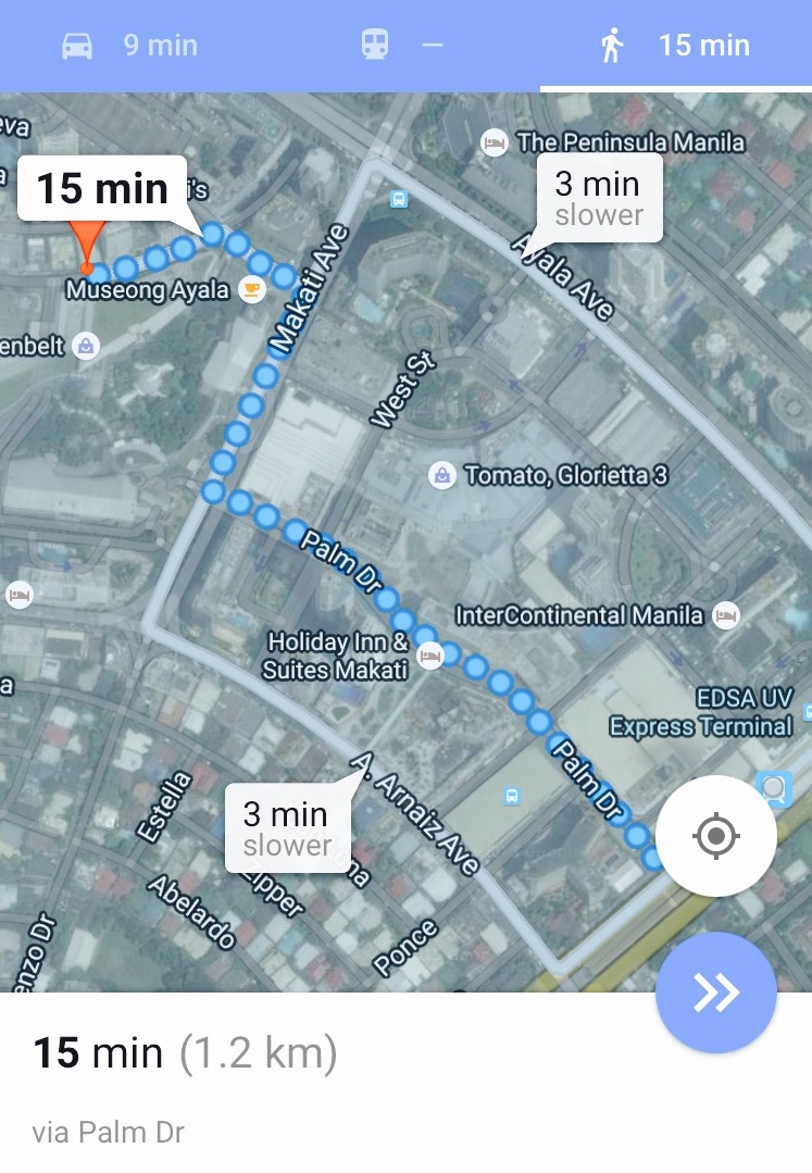 Image from Google Maps - Walking route to A Space, from the Ayala MRT
