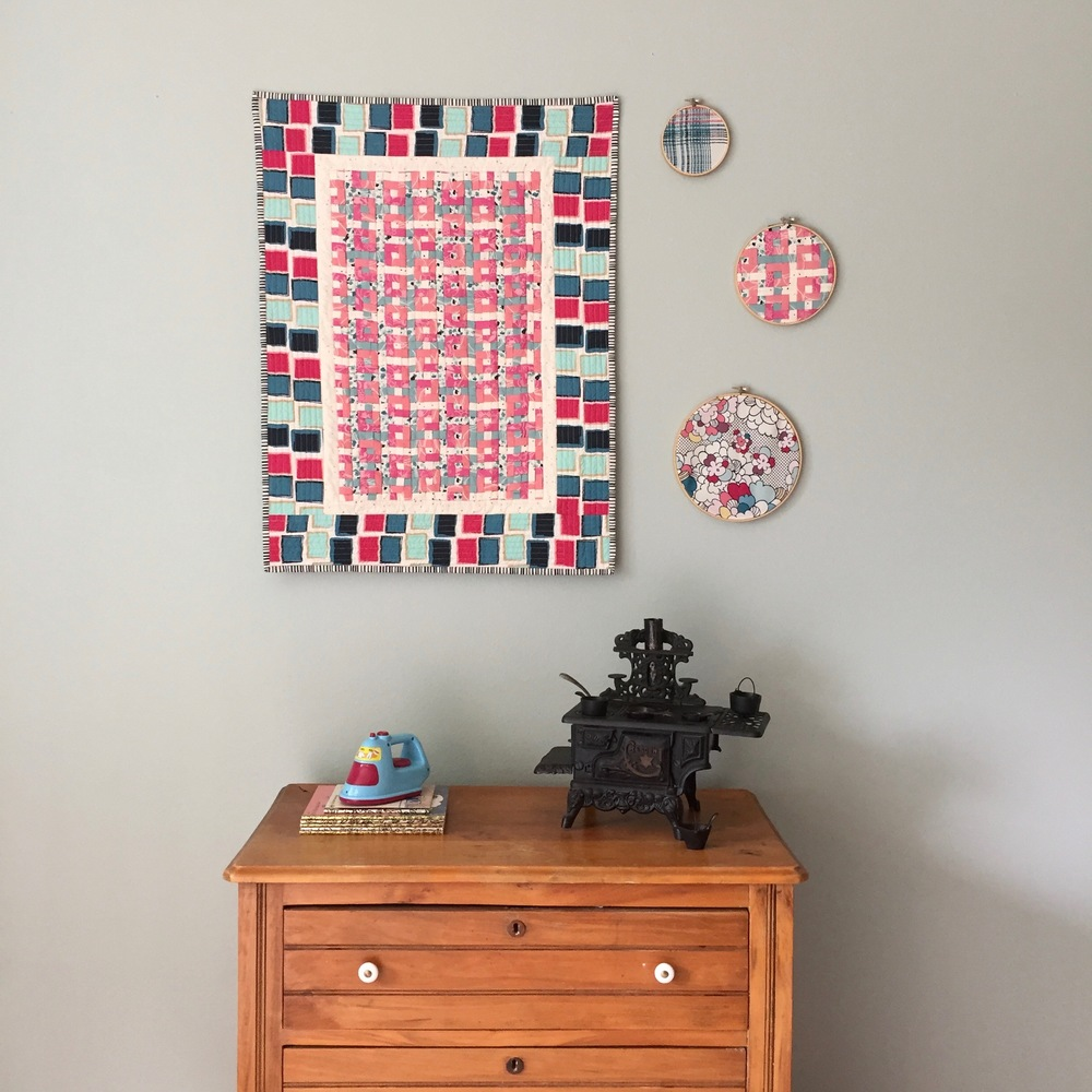 Mini quilt and hoop art made with Essentials II and Dare fabrics by Pat Bravo for Art Gallery Fabrics.