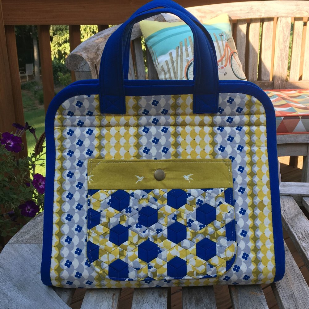 Makers Tote with woven pocket by  Kim Johnson