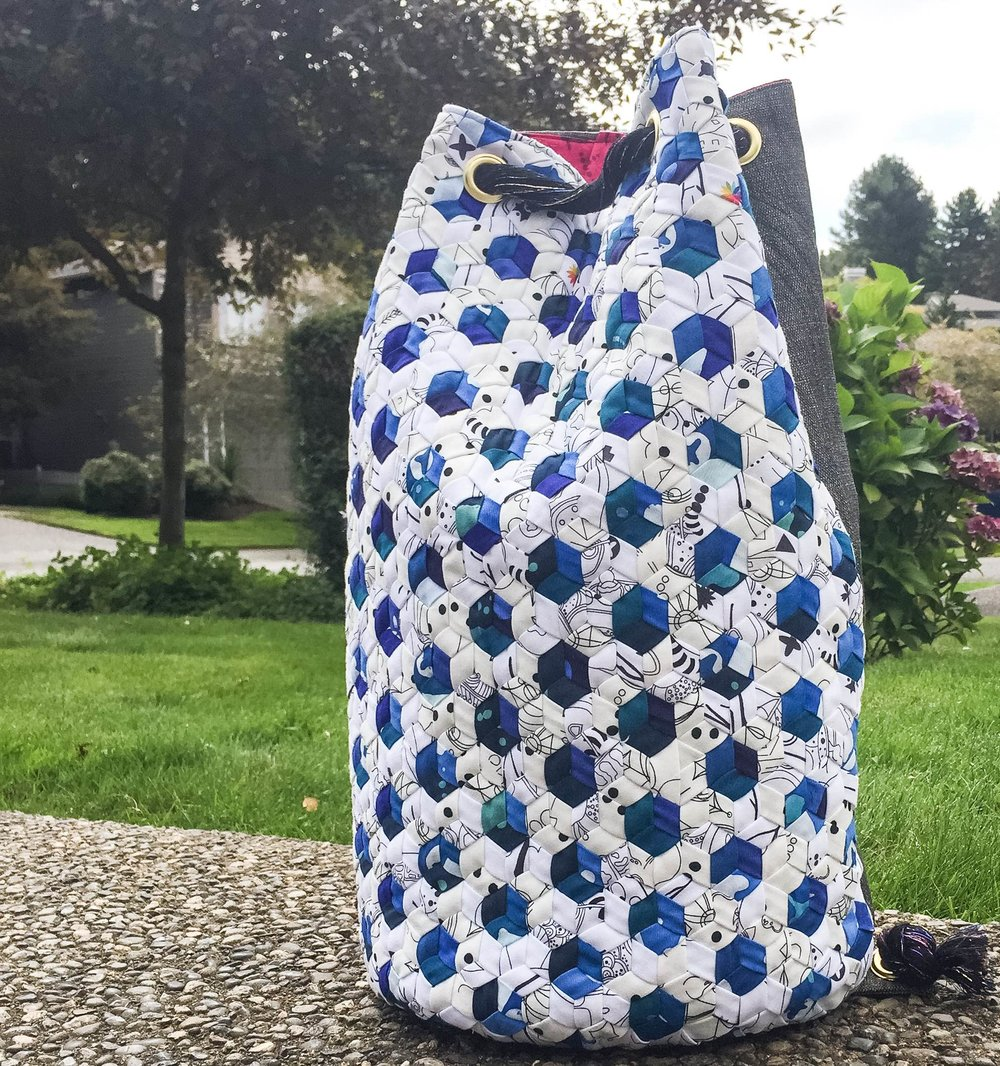 Bucket Bag design by Giucy Giuce in Alison Glass Abacus and Indigo