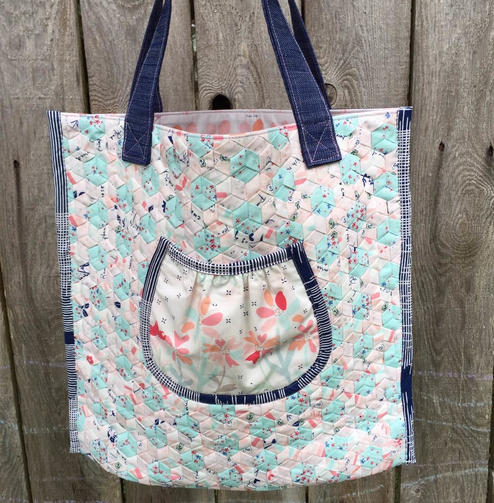 Tote in Amy Sinibaldi Paperie and Art Gallery Fabric Solid Textured Denim